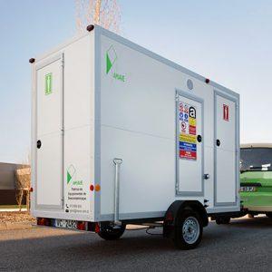 Unidade móvel de cabine para a descontaminação do amianto com reboque
