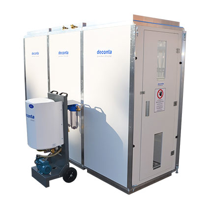 Unidade portátil de descontaminação de amianto desmontável