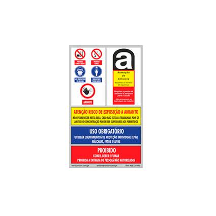 Placa de Sinalização Amianto 75 x 45 CM